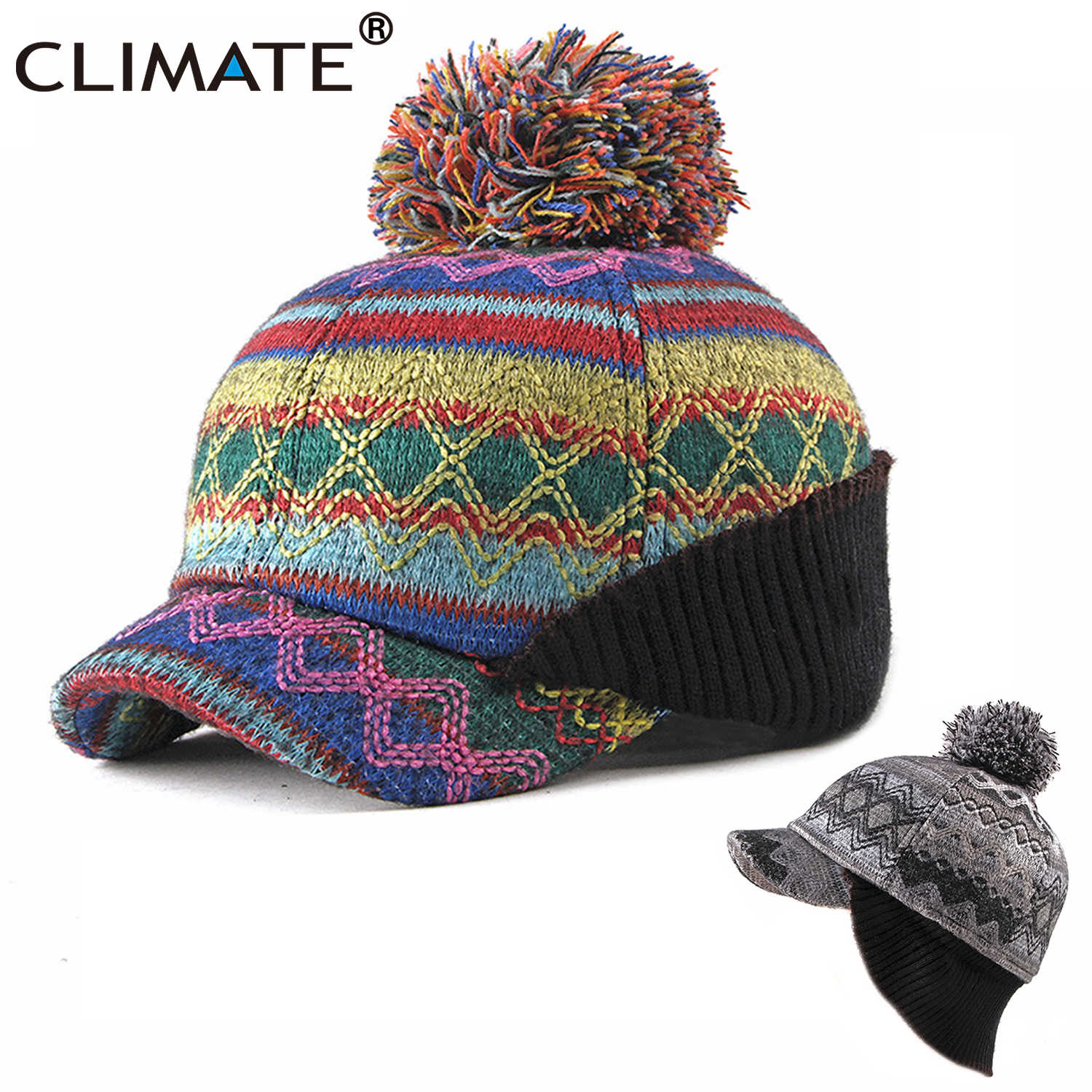 86d3d5a4c1365 CLIMATE Pompom Hat for Women Winter Lace Bomber Hat Ear Warmer Warm Russian  Hats Knitted Baseball