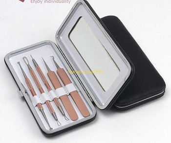 Acne clip tweezers 5 piece set acne needle to blackhead acne beauty tool with mirror#2132