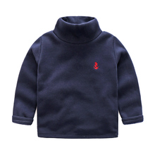 Kids Solid T-shirts 2017 Winter New Baby Boys Anchor Embroidery Turtleneck Fleece Thick Bottoming Shirts Children Pullover Coats