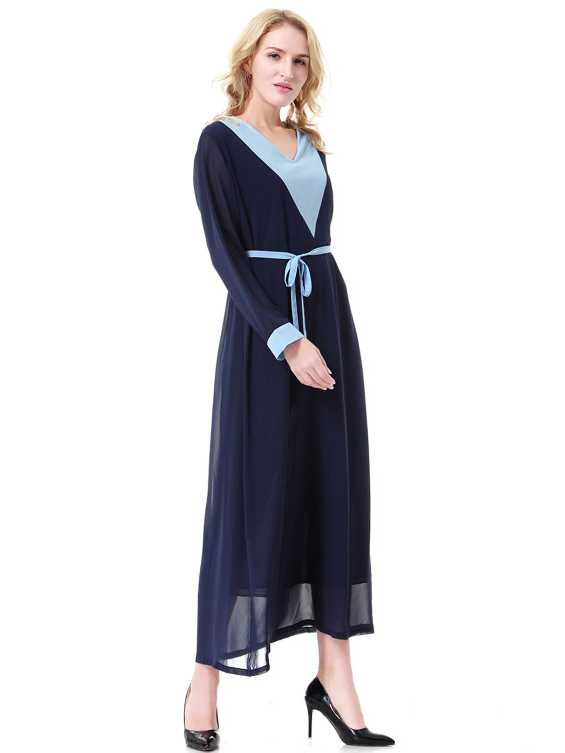 Arabic Women Clothes Home Wearing Lace Kaftan Muslim Chiffon Stitched Two layer Long Dresses in Islamic Clothing from Novelty Special Use