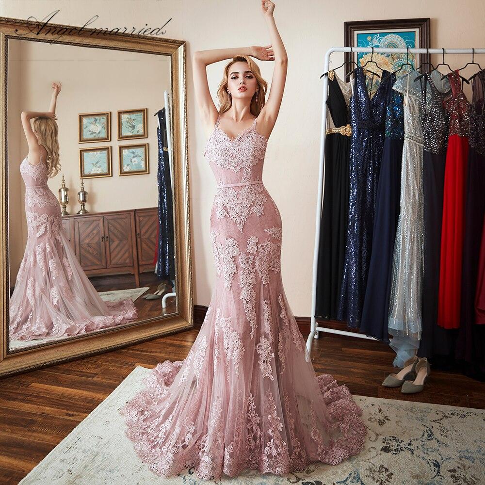 Angel married fashion evening dress 2018 lace mermaid prom dresses womens pageant dress formal party dress vestido de festa