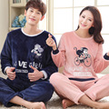 Winter Couples Flannel Pyjama Femme Cartoon Monkey Sleepwear Warm Coral Fleece Pajama Mujer Women Men Brown Pajamas Sets Home