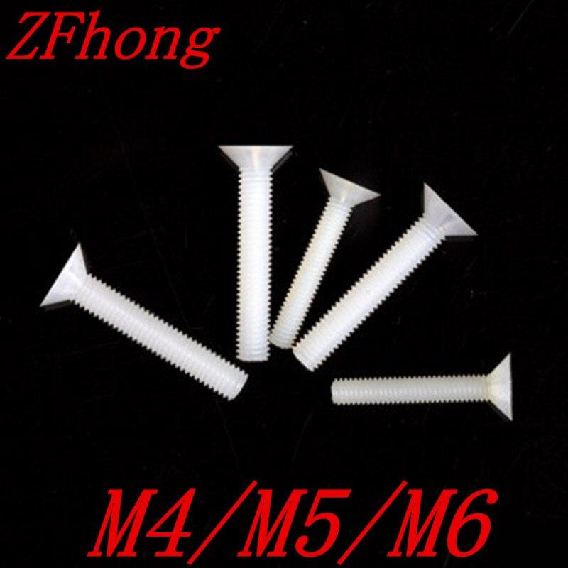 100pcs M4/M5/M6 white nylon plastic flat head machine screw boegli boegli m 100