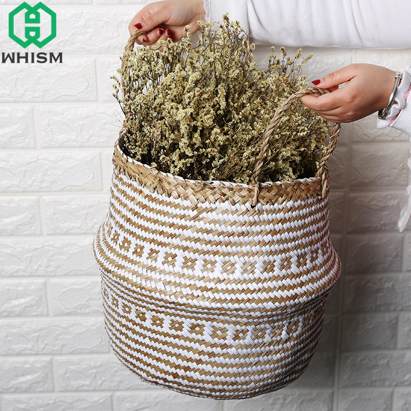 WHISM Folding Storage Basket Rattan Laundry Hamper Handmade Seagrass Flower Pot Wicker Picnic Baskets Storage Organize for Toys ...