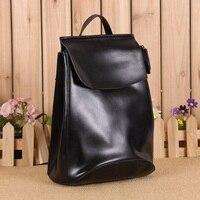 Fashion Women Cowhide Backpack Girls Casual School Bags Oil Wax Split Leather Mochila Shoulder Bag College