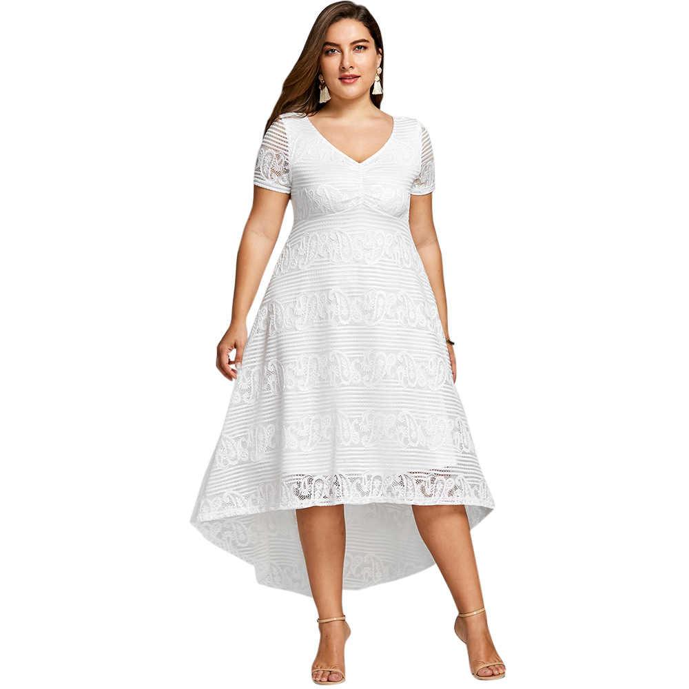623ddc86 Gamiss Plus Size 5XL High Low Midi Dress Women Short Sleeves Empire Waist  V-Neck