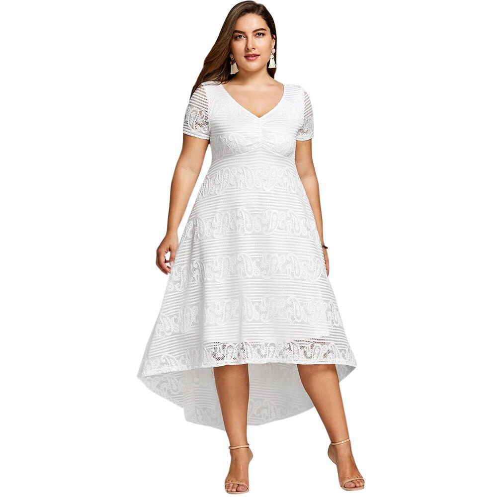 Plus Size 5XL High Low Midi Dress Women Short Sleeves Empire Waist V-Neck Semi Formal Lace Party Dress Big Size Vestidos semi formal summer dresses