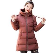 KUYOMENS 2018 nueva moda largo invierno chaqueta mujeres Slim Mujer mujeres algodón del Parka que arropa el estudiante encapuchado