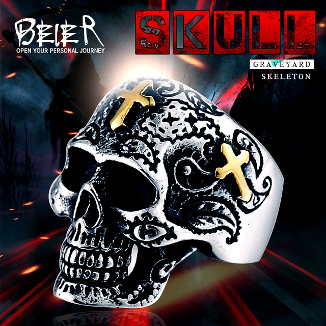 Alibaba aliexpress beier cool gold beier cool gold cross for man 316l stainless steel mans punk skull jewelry ring wholesale lots voltagebd Image collections