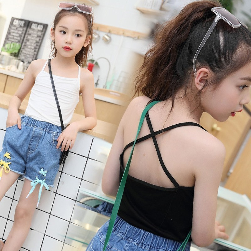 Summer Top 2018 Little Girl Tank Tops Elastic Sleeveless Tank Teenage Girls Vest White Black Underwear Clothing girl
