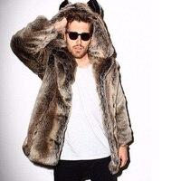 Winter Couple Men Faux Fur Coat 2018 Casual Plus Size Women Hooded Fox Fur Jacket Coat Bear Ear Warm Long Sleeve Jacket Overcoat