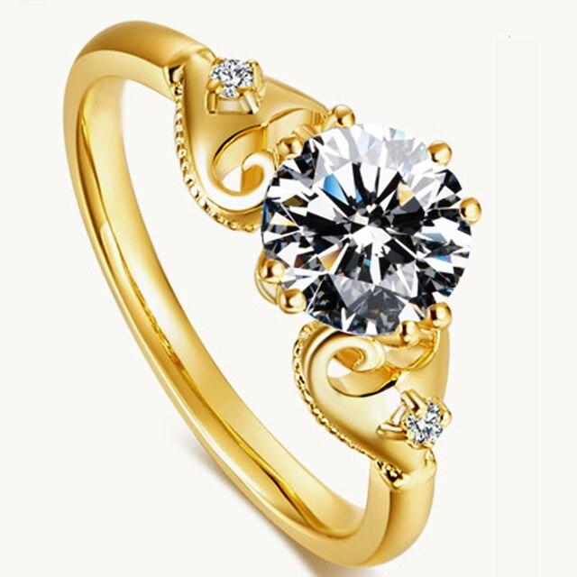 Уникальный Классический Три Камень Муассанит Алмаз Тест Положительный Кольцо Настоящее 14 К Желтого Золота 1ct Круглый Cut Лаборатория Grown Алмаз Женщин кольцо