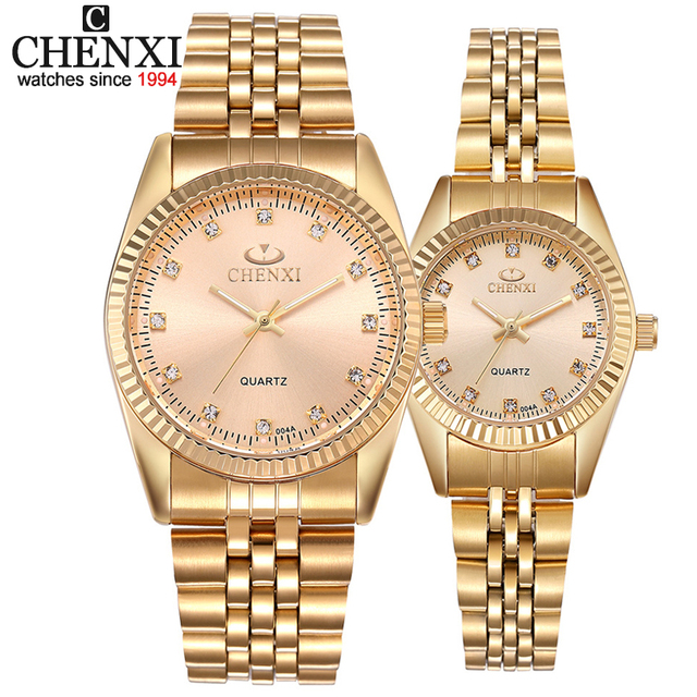 CHENXI Luxury Couple Watch Golden Fashion Stainless Steel Lovers Watch Quartz Wr