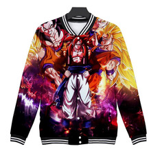 Wintet Mens Bomber Jackets 2018 Anime Dragon Ball Z 3D Baseball Jacket Men Women DBZ Super Saiyan Goku Men Hoodies Sweatshirts