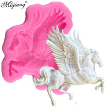 Mujiang 3D Pegasus Silicone Mold Horse Candy Chocolate Fondant Molds Sugarcraft Cake Decorating Tools Soap Fimo Clay Moulds(China)