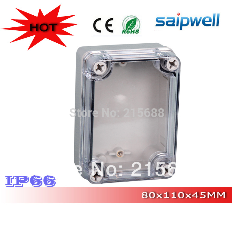 Saipwell Most Popular IP66 Outdoor plastic waterproof tool boxes with Clear Cover 80 110 45mm DS