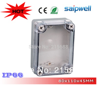 Saipwell Most Popular IP66 Outdoor plastic waterproof tool boxes with Clear Cover 80*110*45mm DS AT 0811 S