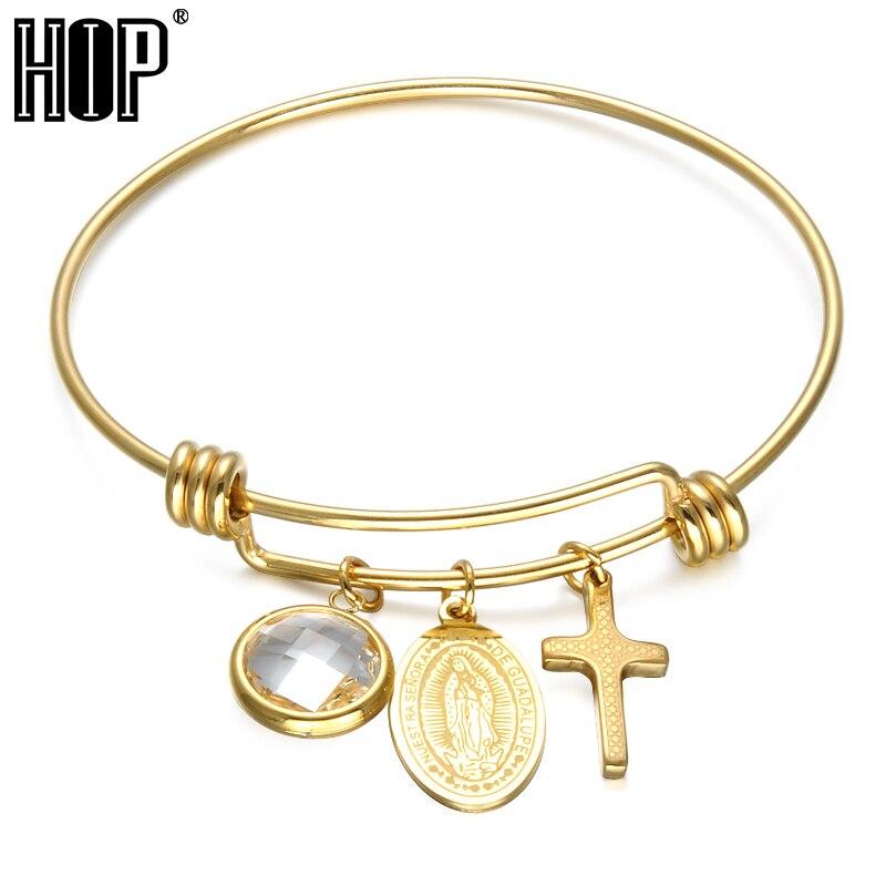 Бедра Мода Девы Марии браслет ip gold покрытие Нержавеющаясталь praper крест Браслеты для Для женщин Для мужчин христианской ювелирных изделий