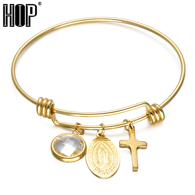 Hip Trendy Virgin Mary Bracelet Ip Gold Plating Stainless Steel Pr Cross Bracelets Bangles For