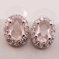 Morganite Woman 925 Sterling Silver Crystal Earrings TE479