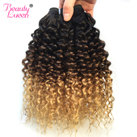 Ombre Brazilian Hair Kinky Curly Weave Human Hair Bundles 3 Tone Honey Blonde Bundles Hair Extension Non Remy Buy 3 Or 4 Bundles