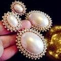 Elegante do casamento brinco grande brinco de pérola oscila ouro austrália brincos de cristal para mulheres XLL070