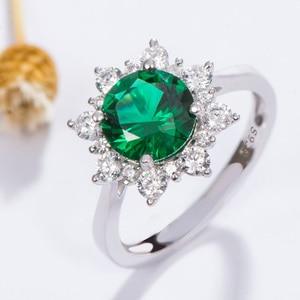 Image 5 - Kuololit Luxe Spinel Emerald Ringen Voor Vrouwen 925 Sterling Zilveren Sieraden Engagement Wedding Mei Birthstone Ring Romantische Gift