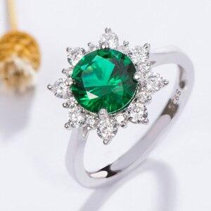 Image 5 - Kuololit luxe spinelle émeraude anneaux pour les femmes 925 bijoux en argent Sterling fiançailles mariage mai pierre de naissance anneau cadeau romantique