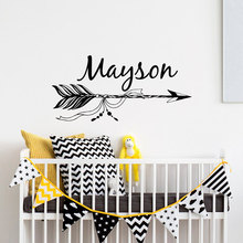 Boho Arrow Personalized Name Wall Decal- Custom Vinyl Sticker- Nursery Bohemian Baby Room Decoration LW110