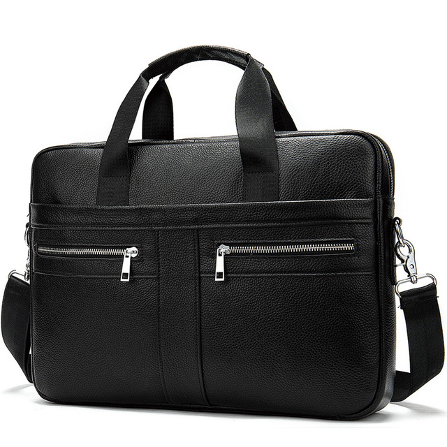 Mature Steady Genuine Leather Briefcases Men Business Large Capacity Shoulder Bags For Men Fashion Zipper Handbag Borsa Uomo Bag