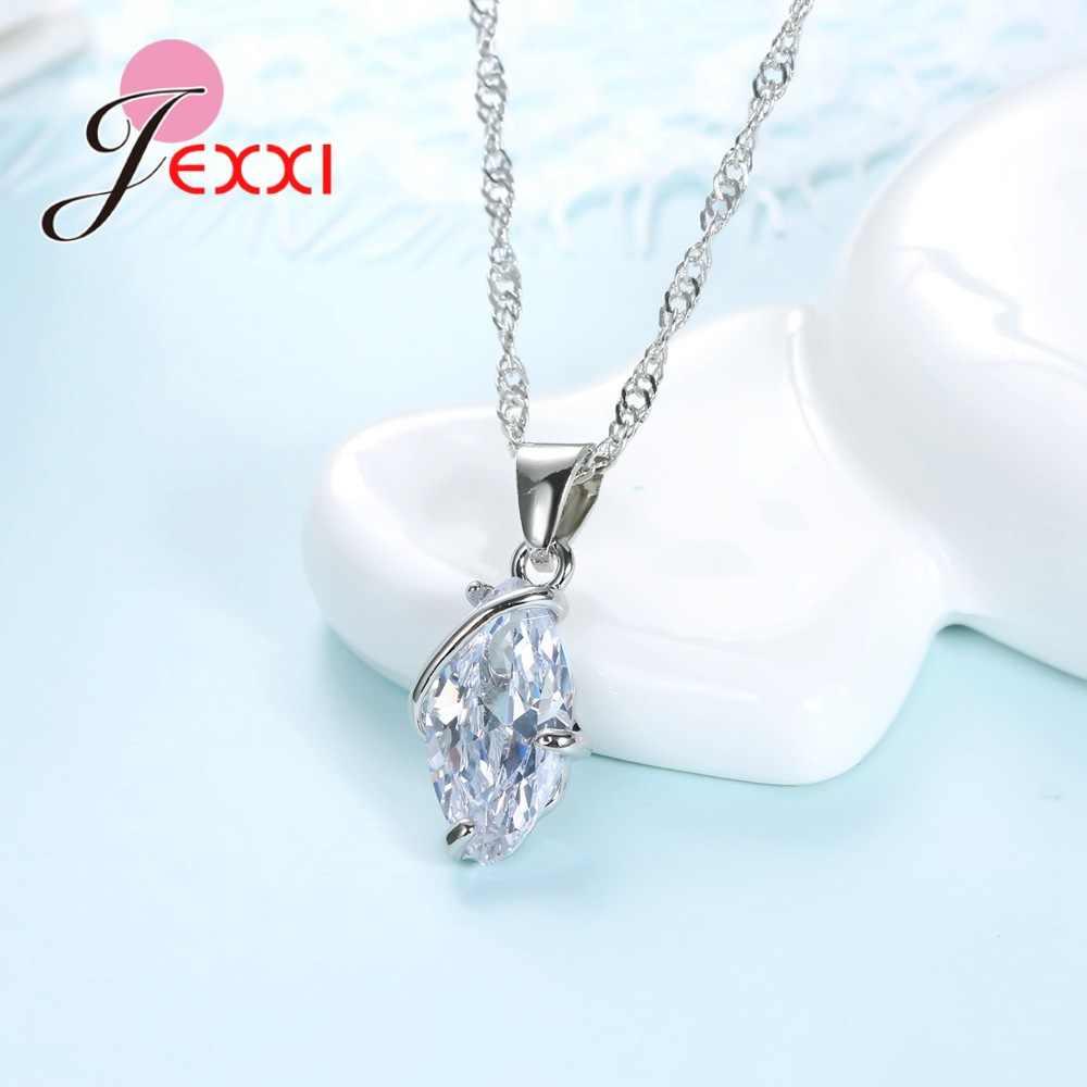 2020 heißer Großhandel Luxus Strass 925 Sterling Silber Frauen Finger Halskette & Ohrringe Set Dame Hochzeit Romantische Schmuck