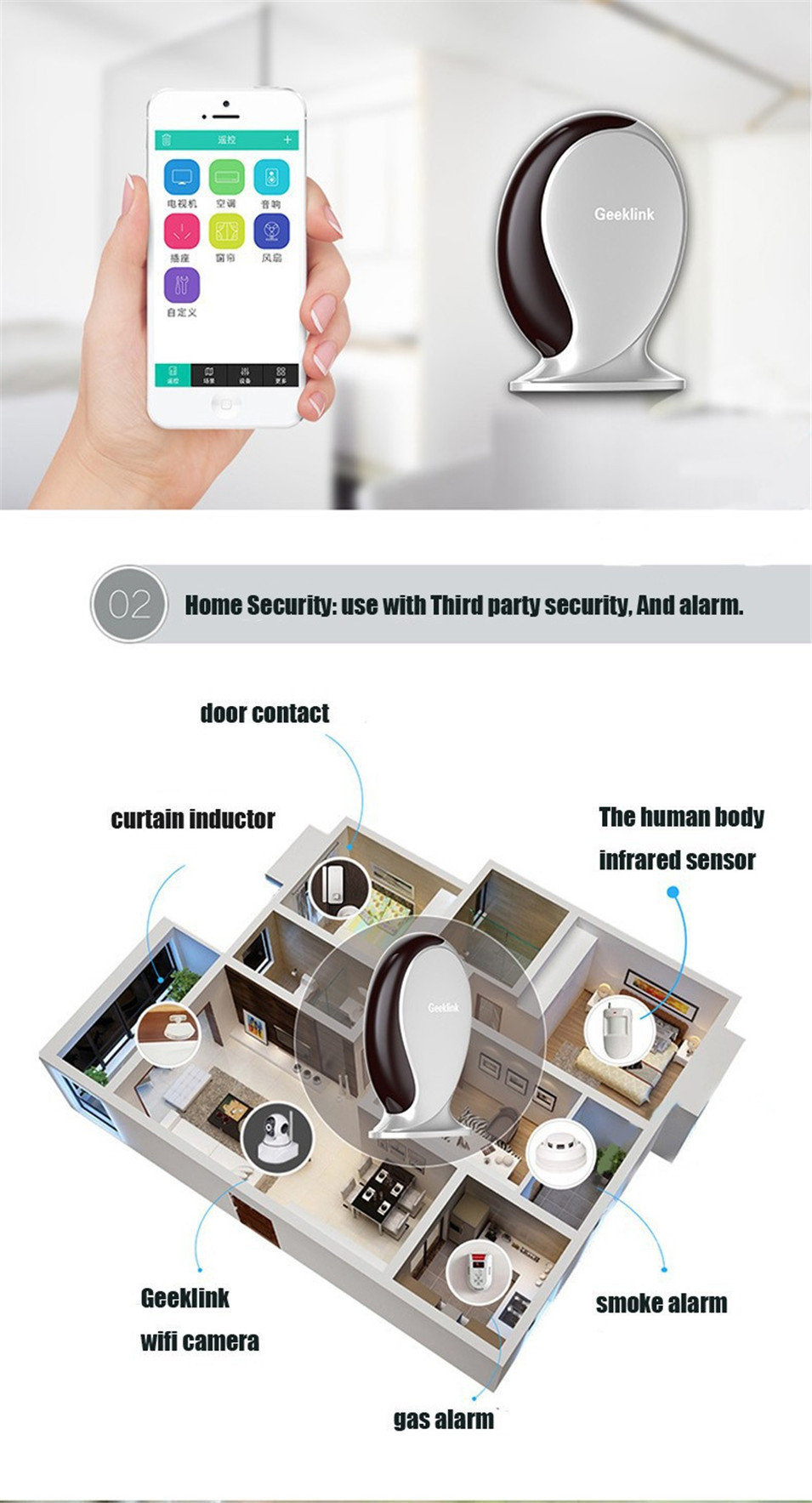 Geeklink Thinker Extension US WIFI Touch Remote Control Switch 1gang 2gang 3gang Universal Control Security Router RF433 315 IR-6