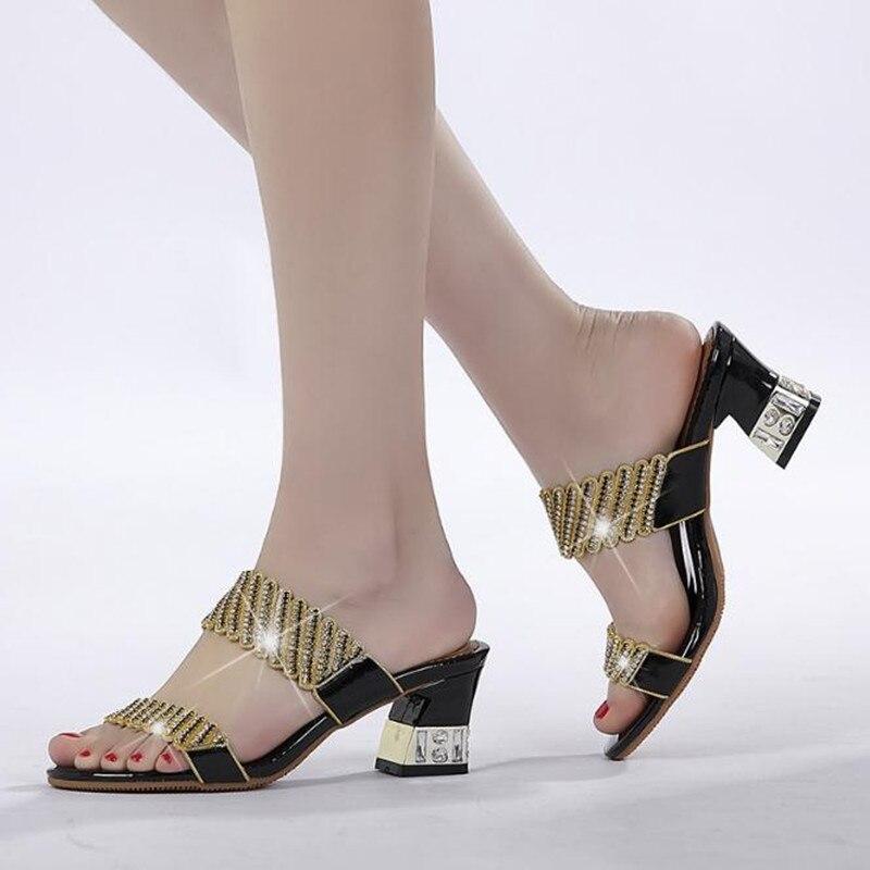 Strass Brut Plage Femelle Flip Hauts Chaussures Flops Talons À Black Femmes D'été purple gold Or Mode Talon Pantoufles Sandales BqXtdOOw