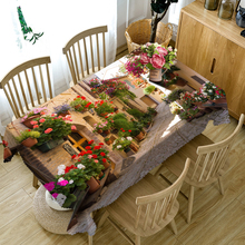 High Quality 3d Round Tablecloth City Street Flower landscape Pattern Washable Dustproof Thicken Cotton Rectangular Table Cloth