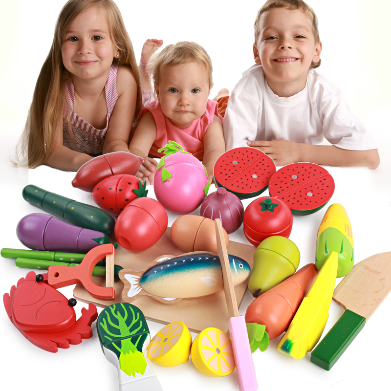 Children play toy kitchen fruit cutting music set wooden for Kitchen set video song