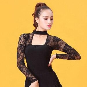 Image 3 - ファッション社交衣装レース長袖セクシーなラテンダンストップ女性用/女性/女性ダンサー、パフォーマンスの摩耗 YE0206