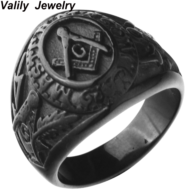 Black plated College Style Freemason Ring Masonic Rings for Men,Stainless Steel Wedding band Ring Jewelry,Christmas ring