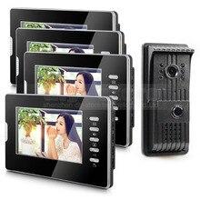 """DIYSECUR Nuevo 7 """"Teléfono Video Atado con alambre de Seguridad Casero de Intercomunicación 1V4 Sistema de Cámara A Prueba de Lluvia"""