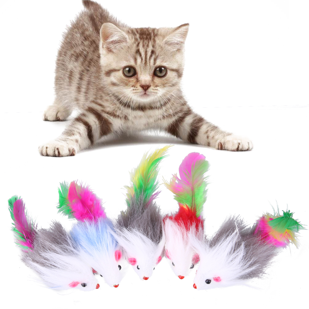 Low Price Cat Toy 5pcs Colorful Soft Cat Toys Mouse Fleece False Funny Cat Kitten Playing Toys Cat Supplies