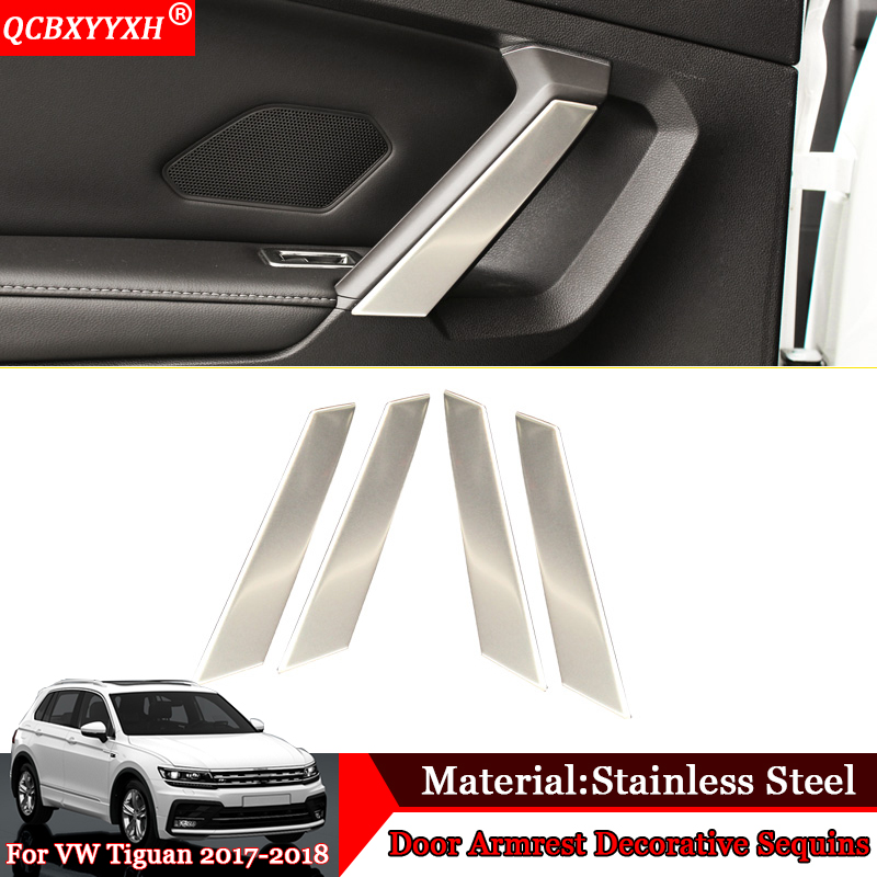 Car styling 4pcs set Stainless Steel Car Door Armrest Decorative Sequins Cover Auto Accessories For Volkswagen