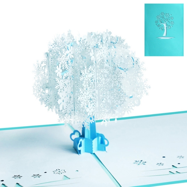 3D Snowflake Pop Up Greeting Cards Happy Birthday Lover Valentines Anniversary