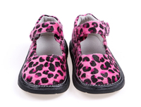 Girls Shoes Leopard Printed Fabric Brown Hot Pink Red Black White Toddlers Flat Sole 6 7