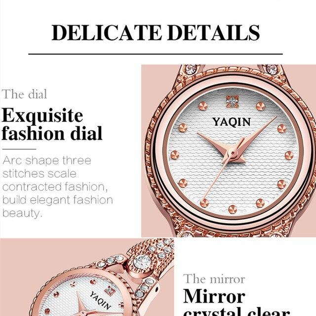 YAQIN TOP brand di lusso delle donne della vigilanza del quarzo di modo vigilanza delle signore dell'acciaio vigilanza del braccialetto delle donne della vigilanza Relojes Feminino