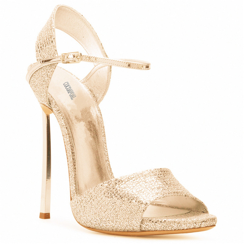 COCOAFOAL Women Gold Open Toe Sandals Plus Size 33 43 Gladiator Bridal Shoes Party Sexy Bling Silver Heel Height Wedding Sandals