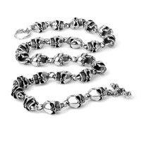 316L Stainless Steel Hip Hop Mens Jewelry Biker Huge Titanium Steel Skull Skeleton Necklaces Gothic Heavy Punk Necklace