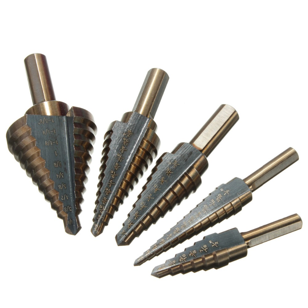 цена на HOEN 5PCS 50 Sizes Hss Cobalt Aluminum Case Replaces 50 Individual Drill Bits Multiple Hole Cutter Step Drill Bit Set