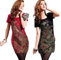 Red Black White Size M L XL XXL 3XL 4XL 5XL Phoenix Embroidery Slim Plus Size