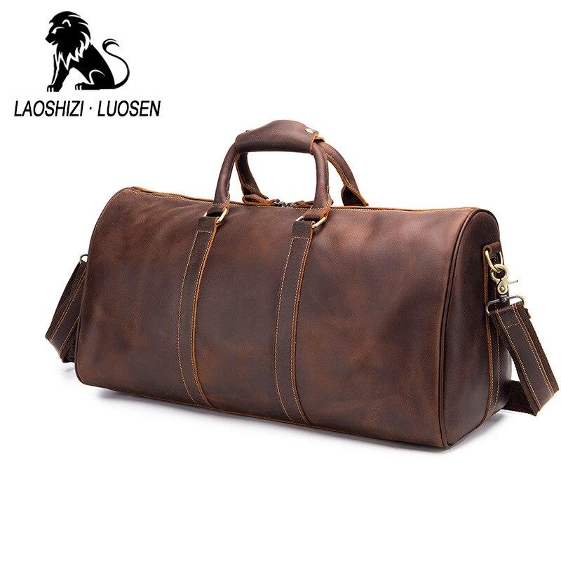 2019 nouveau sac à main en cuir de vache rétro sac de voyage pour hommes courte distance grande capacité sac à bagages voyage sac à dos d'affaires carte de marée