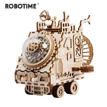 Robotime DIY 3D พื้นที่รถไม้เกมปริศนาประกอบของเล่นเด็กวัยรุ่นผู้ใหญ่ AM681