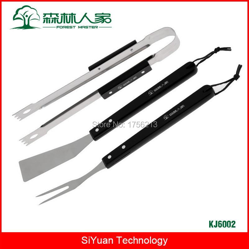 Forest Master High Quality BBQ Grill Tools Set Professional Barbecue Accessories Stainless Steel and Wood Tong Spatula Fork earth star high quality 50 500 degree roast barbecue bbq smoker grill thermometer temp gauge new arrival 2